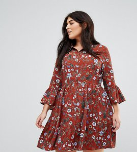 Read more about Uttam boutique plus floral skater dress with button front - burgundy