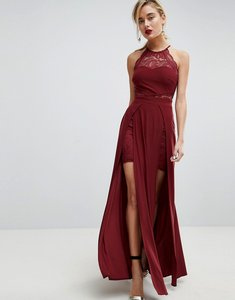 Read more about Asos lace high neck double split maxi dress - oxblood