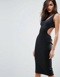 Read more about Asos gold metal trim scuba bodycon midi dress - black