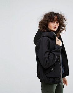 Read more about Dr denim hooded zip through jacket with exaggerated pocket - black