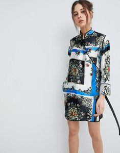 Read more about Asos design scarf print wrap mini dress with piping - multi