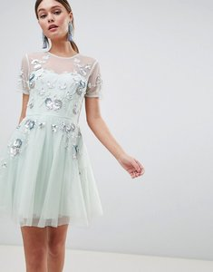 Read more about Asos design premium embellished tulle open back mini dress - pale blue