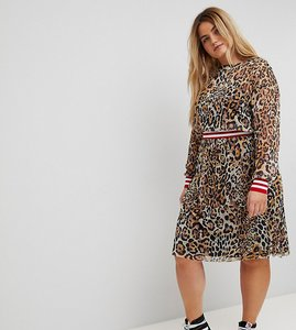 Read more about Asos curve leopard print mesh midi dress with rib detail - multi