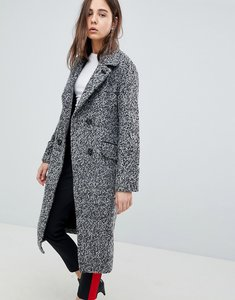 Read more about Neon rose salt pepper wide collar coat - grey