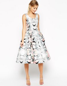 Read more about Asos salon super full belted floral prom dress - multi