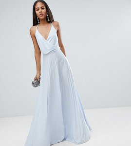 Read more about Asos tall blouson wrap pleated maxi dress - pale blue