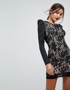 Read more about Asos lace bodycon puff sleeve mini dress - black