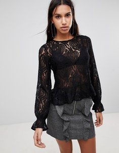 Read more about Y a s sunflower lace blouse - black