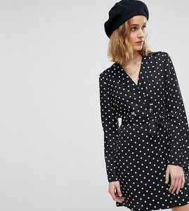 Read more about Reclaimed vintage inspired polka dot tux dress - multi