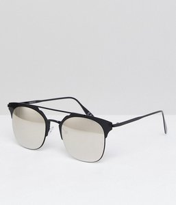 Read more about Asos retro sunglasses in black metal with silver mirrored lens - black
