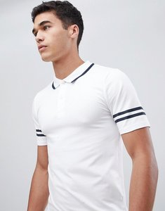 Read more about Only sons polo shirt with arm stripe in muscle fit - white