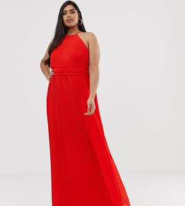 Read more about Tfnc plus high neck pleated maxi dress in red