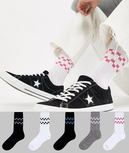 Read more about Asos design sports style socks with cherkerboard stripes 5 pack - white