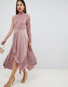 Read more about Asos design asymmetric one sleeve plisse dress - mink