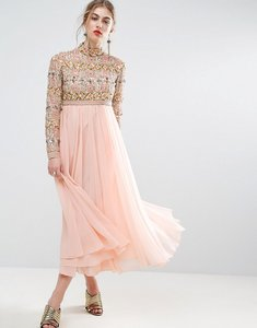 Read more about Asos salon high neck embellished midi skater dress with long sleeves - baby pink