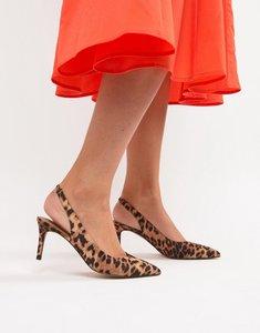 Read more about Asos design sebastian slingback mid heels in leopard print - leopard