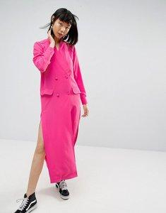 Read more about Asos white split detail midi shirt dress - pink
