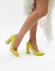 Read more about Missguided flared heel court shoe - acid yellow