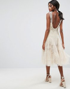 Read more about Asos salon embellished floral drop waist midi dress - cream