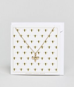 Read more about Johnny loves rosie christmas bee giftcard necklace - gold
