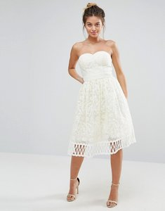Read more about Chi chi london strapless premium lace dress - cream