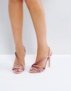 Read more about Public desire seek blush velvet strappy heeled sandals - blush velvet