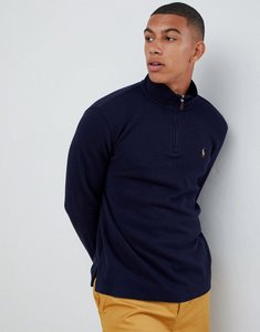 Read more about Polo ralph lauren half zip cotton knit jumper with multi player logo in navy - rl navy