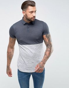 Read more about Asos longline polo shirt in mixed textured fabric with curved hem - grey