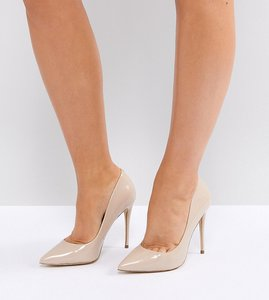 Read more about Aldo wide fit beige pointed court shoes - nude