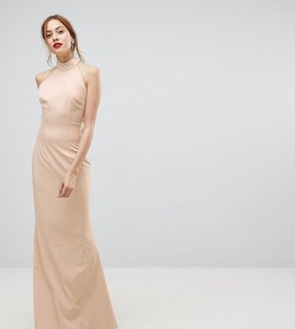 Read more about Jarlo tall high neck ruched open back maxi dress - nude