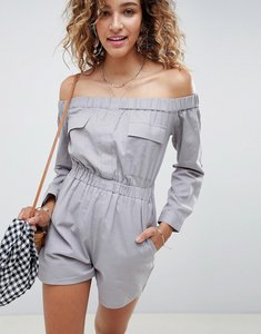 Read more about Asos design off shoulder boiler playsuit in linen look - grey