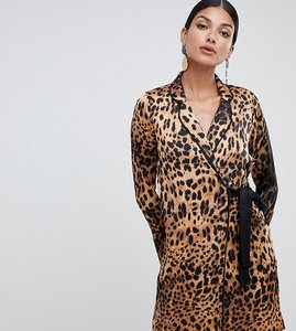 Read more about Missguided tall tux dress with tie side in leopard satin