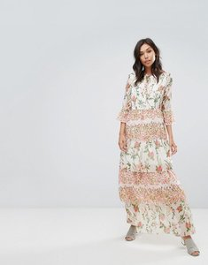 Read more about Vero moda maxi floral ruffle dress - almost mauve