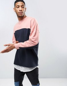 Read more about Asos oversized longline sweatshirt with cut sew - navy pink