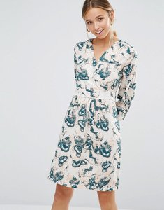 Read more about Closet blue print cross over long sleeve dress - nude grey