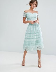 Read more about Chi chi london midi skirt in panelled lace - mint