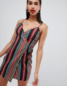 Read more about Prettylittlething striped wrap cami dress - multi