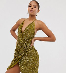Read more about Asos design tall allover sequin drape mini dress with horn buckle