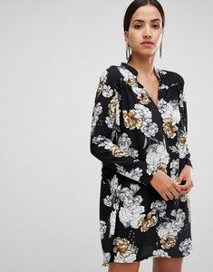 Read more about Rare london floral printed swing dress - black multi