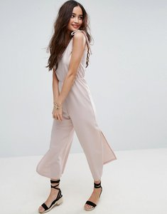 Read more about Asos minimal jumpsuit in jersey with elasticated waist - nude