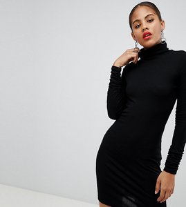 Read more about Asos design tall high neck rib bodycon mini dress with long sleeves - black