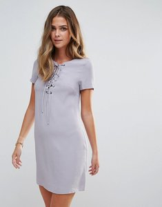 Read more about Glamorous lace up shift dress - blue grey