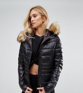 Read more about Vero moda tall padded faux fur jacket - black beauty