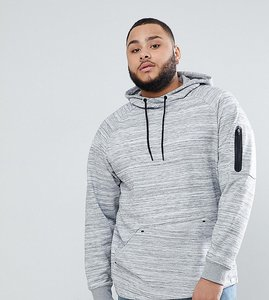 Read more about Only sons plus hoodie with technical arm pocket - light grey melange
