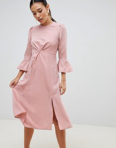 Read more about Asos design fluted sleeve midi dress with knot front - nude