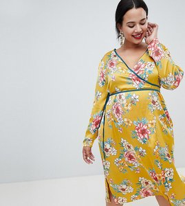 Read more about Missguided plus satin floral wrap dress - mustard