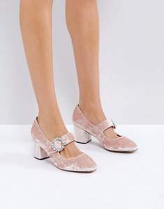 Read more about Asos sunshine jewelled buckle mid heels - pink