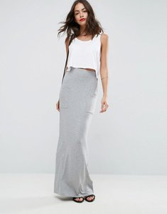 Read more about Asos jersey maxi skirt with pockets - grey marl