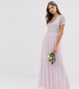 Read more about Maya bridesmaid v neck maxi tulle dress with tonal delicate sequin in soft lilac