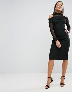 Read more about Asos pencil dress in rib with mesh detail and cold shoulder - black